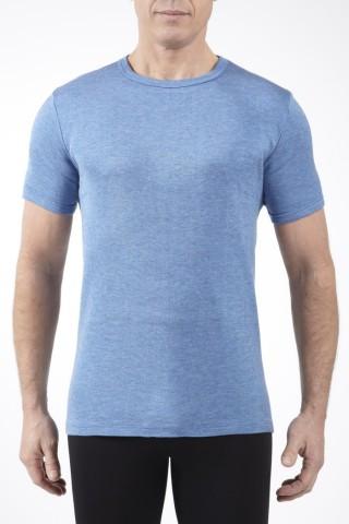 Tee-shirt manches courtes col rond Bleu Rhovylon