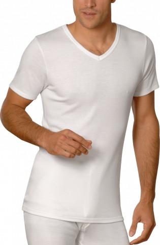 Tee-shirt manches courtes bleu Rhovylon col V