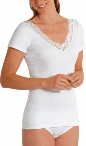 Chemise manches courtes large dentelle Blanc