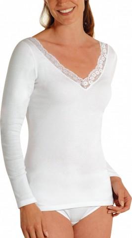 Chemise manches longues large dentelle Blanc