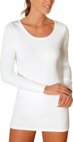 Chemise manches longues en coton interlock Blanche