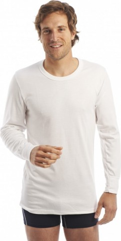 Tee shirt manches longues Col rond Blanc Rhovylon
