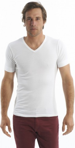 Tee-Shirt manches courtes col V Blanc ArmorLux
